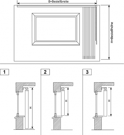 schr ger lamellenvorhang f r wandmontage. Black Bedroom Furniture Sets. Home Design Ideas